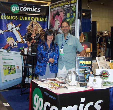 Shena Wolf and Pete Maresca in the GoComics booth