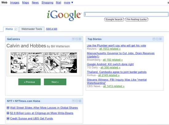 The GoComics gadget for iGoogle