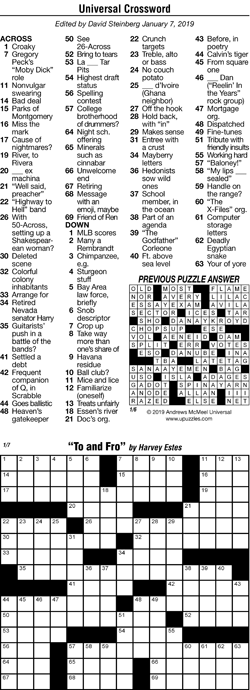 graphic about Free Daily Printable Crossword Puzzles Online titled Andrews McMeel Syndication - House